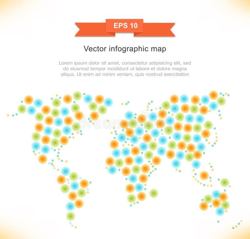 Карта вектора multicolor стилизованная Изображение мира Знамя экологичности иллюстрация штока