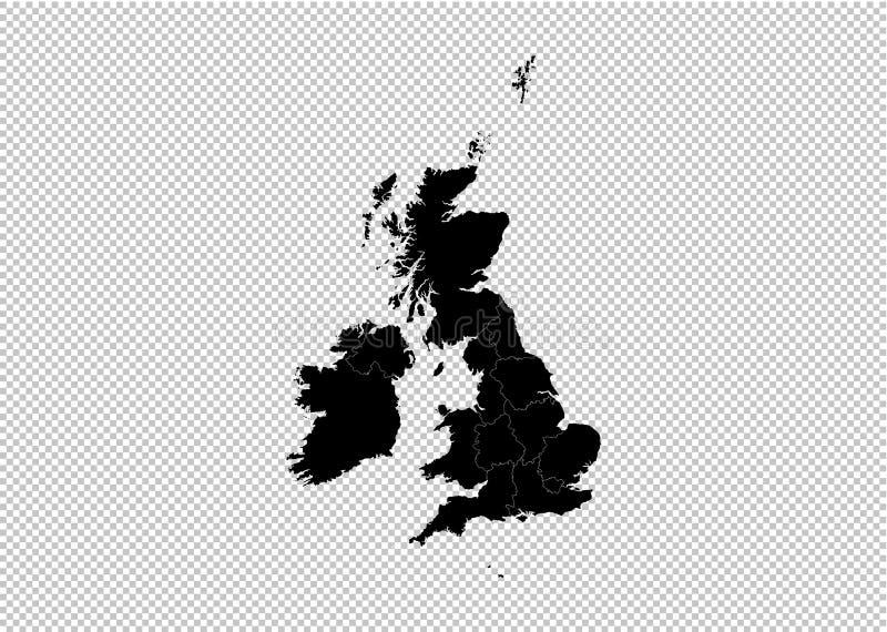 Карта Великобритании - карта максимума детальная черная с графствами/регионами/государствами Великобритании Карта Великобритании  иллюстрация вектора
