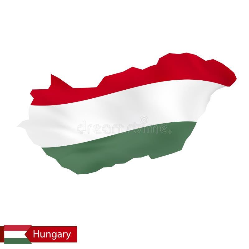 Карта Венгрии с развевая флагом Венгрии бесплатная иллюстрация
