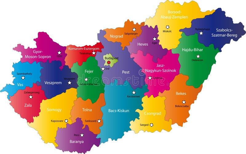Карта Венгрии иллюстрация штока