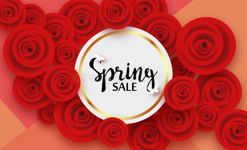 Карта весны с красной розой и тенями цветков, для скидок, продажи, продвижения Надпись в золотой круглой рамке иллюстрация вектора