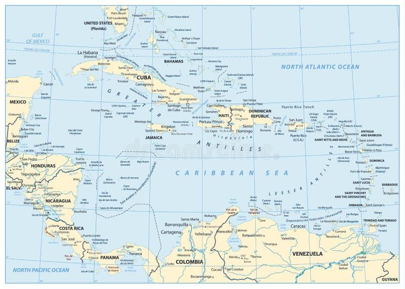 Карта Вест-Инди иллюстрация вектора