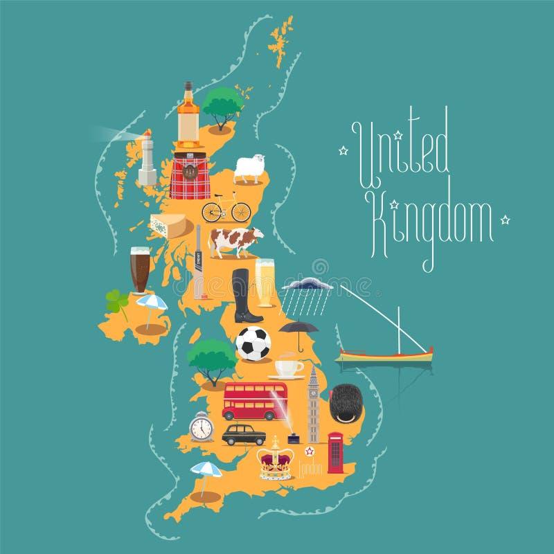 Карта Великобритании, Великобритания с Шотландией и Ирландия vector иллюстрация иллюстрация вектора