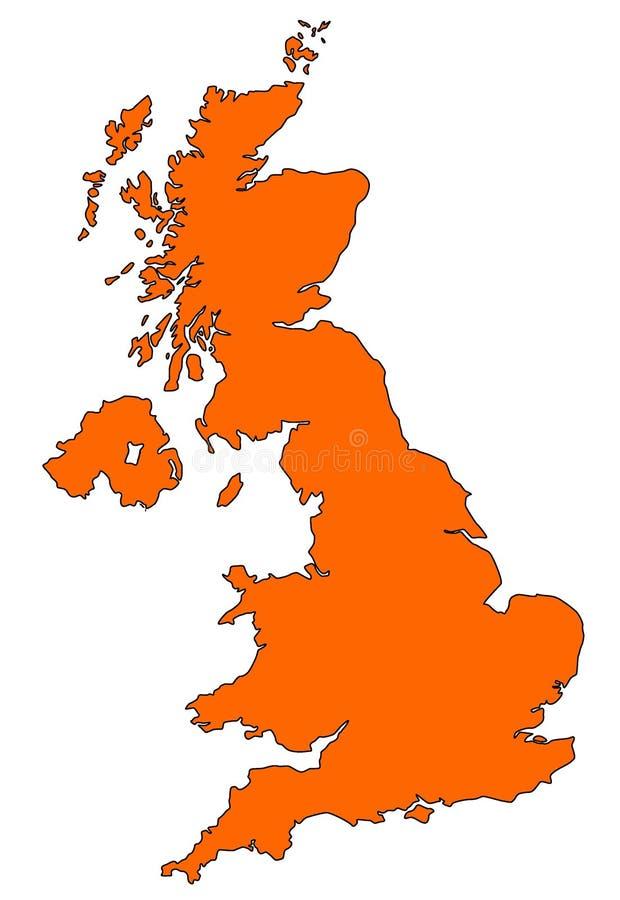 Карта Великобритании в апельсине иллюстрация вектора