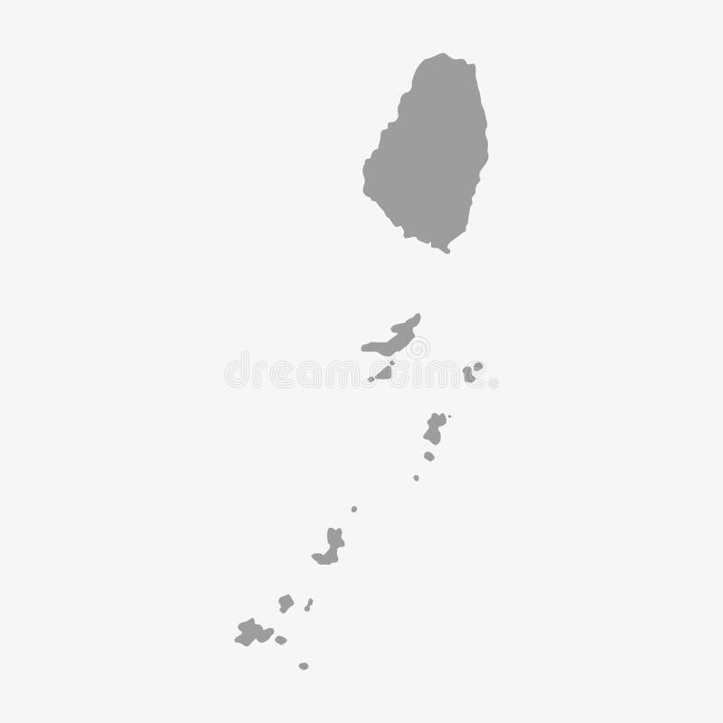 Карта Винсента Святого в сером цвете на белой предпосылке иллюстрация штока