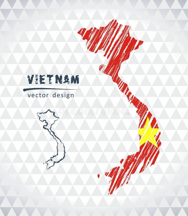 Карта Вьетнама с нарисованной рукой картой ручки эскиза внутрь также вектор иллюстрации притяжки corel иллюстрация штока