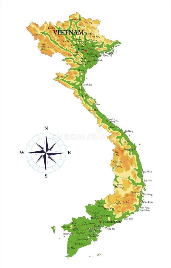 Карта Вьетнама физическая иллюстрация штока