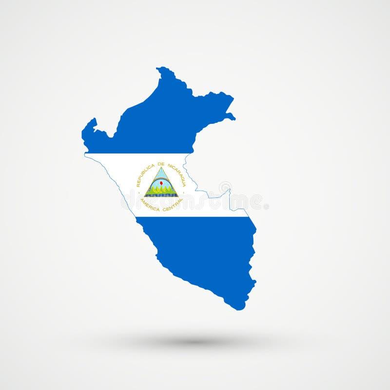 Карта в цветах флага Никарагуа, editable вектор Перу бесплатная иллюстрация