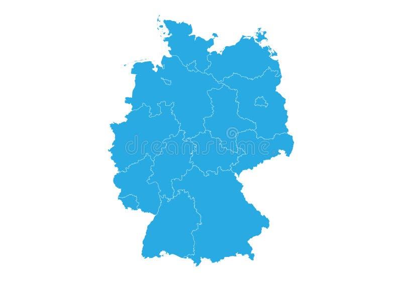 карта Германии Высокая детальная карта вектора - Германия иллюстрация вектора