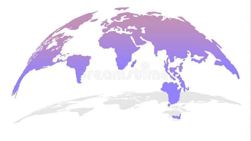 карта глобуса 3D в новом ультрамодном дизайне и пурпурном цвете с тенью иллюстрация вектора