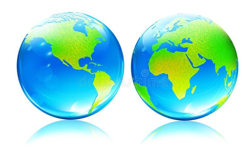 карта глобусов земли лоснистая иллюстрация штока