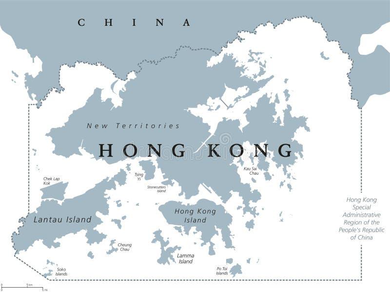 Карта Гонконга политическая иллюстрация вектора