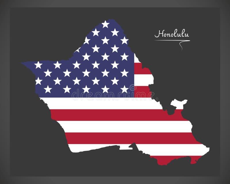 Карта Гонолулу Гаваи с американской иллюстрацией национального флага бесплатная иллюстрация