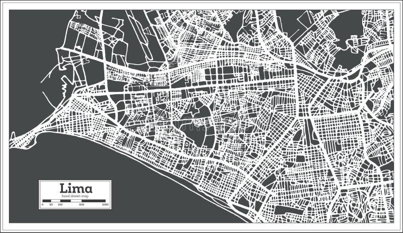 Карта города Лимы Перу в ретро стиле Светотеневая иллюстрация вектора иллюстрация вектора