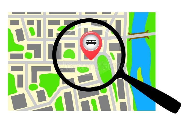 Карта города с лупой иллюстрация штока