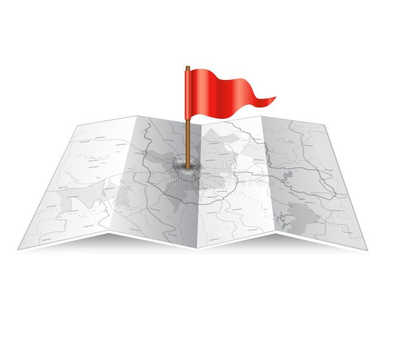 Карта города с эмблемой революции иллюстрация штока