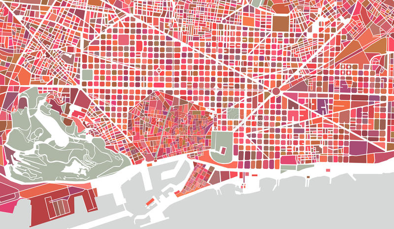 Карта города Барселоны, Испании иллюстрация вектора