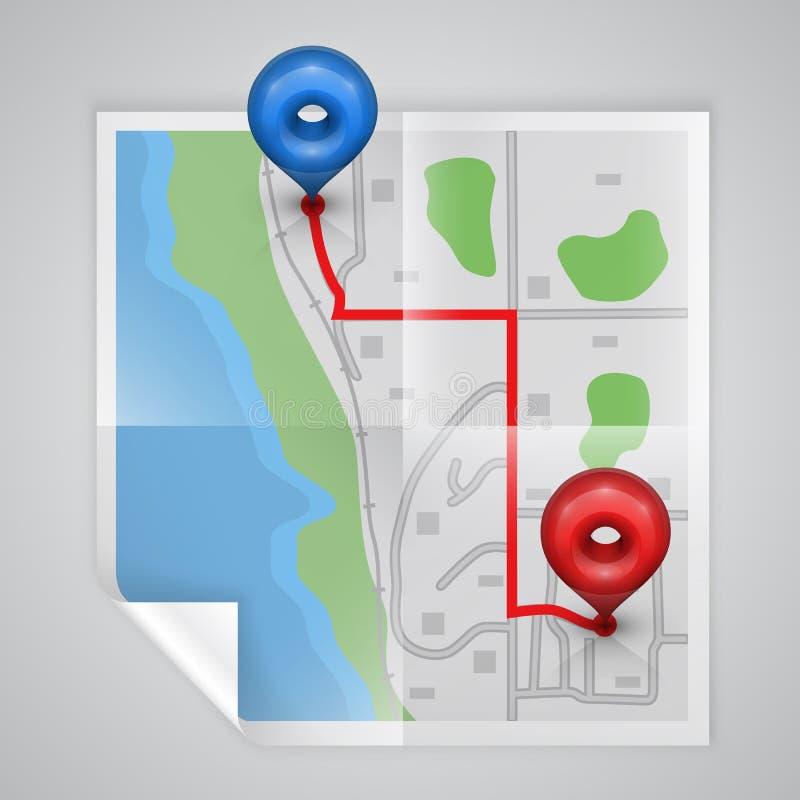 Карта города бумажная иллюстрация вектора