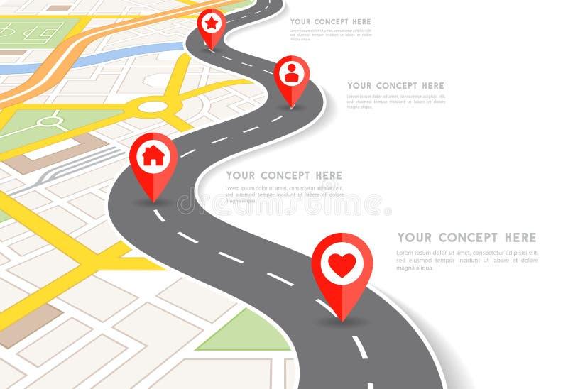 Карта города перспективы вектора infographic иллюстрация вектора