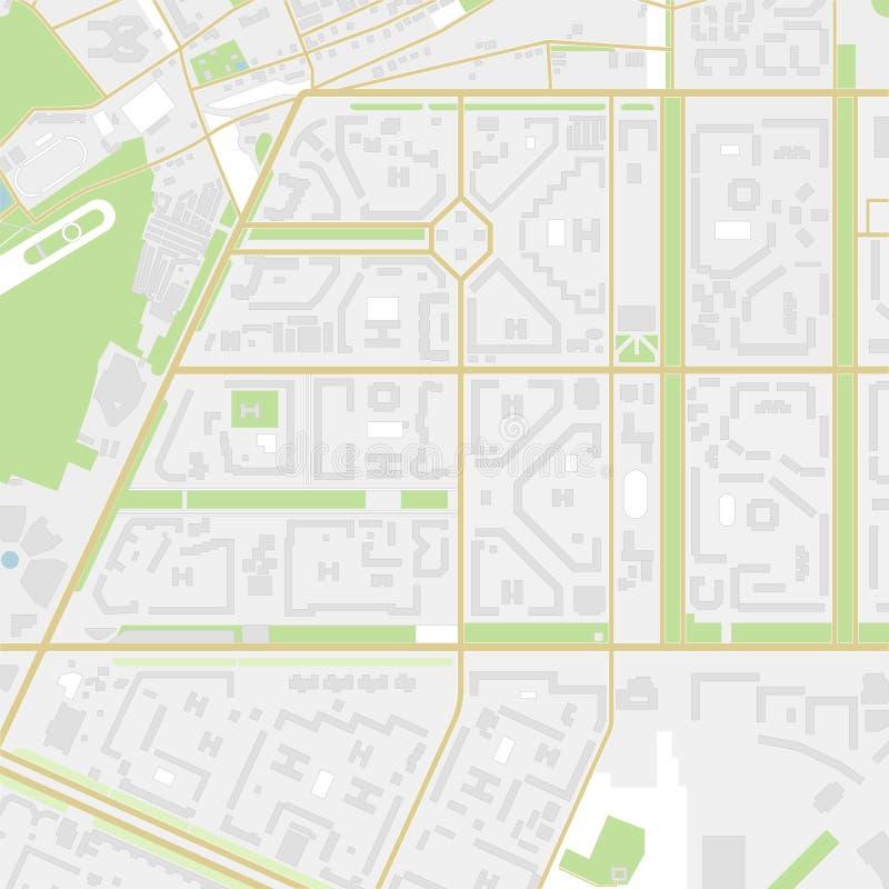 Карта города с улицами, дорогами, домами и парками вектор иллюстрация вектора