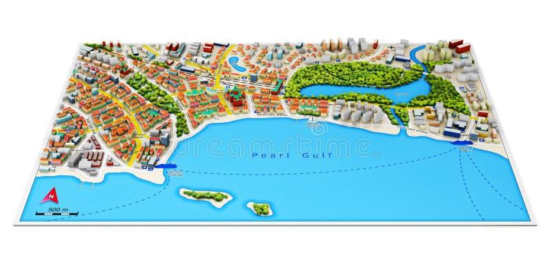 карта города 3d иллюстрация вектора