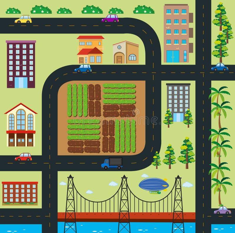 Карта городка с дорогами и зданиями иллюстрация штока