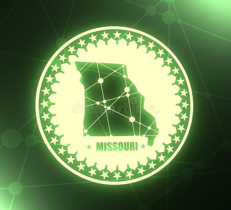 Карта государства Миссури иллюстрация вектора