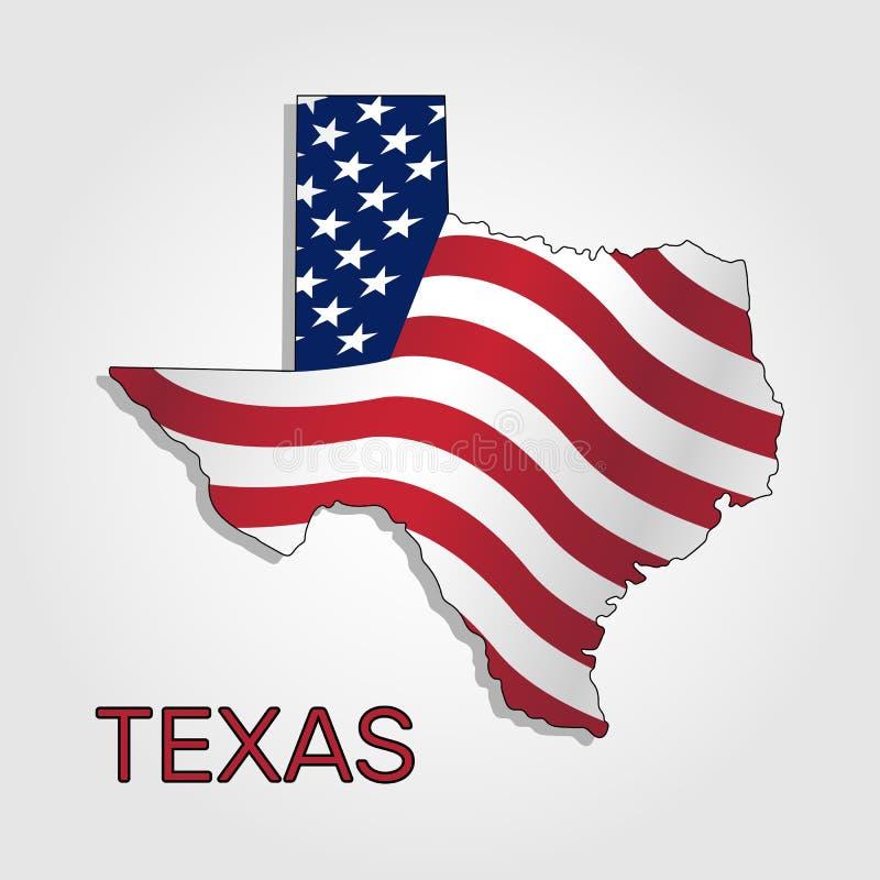 Карта государства Техаса в комбинации с a развевая флаг Соединенных Штатов - вектора иллюстрация вектора
