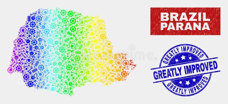 Карта государства Parana спектра промышленная и поцарапанные значительно улучшенные уплотнения печати бесплатная иллюстрация