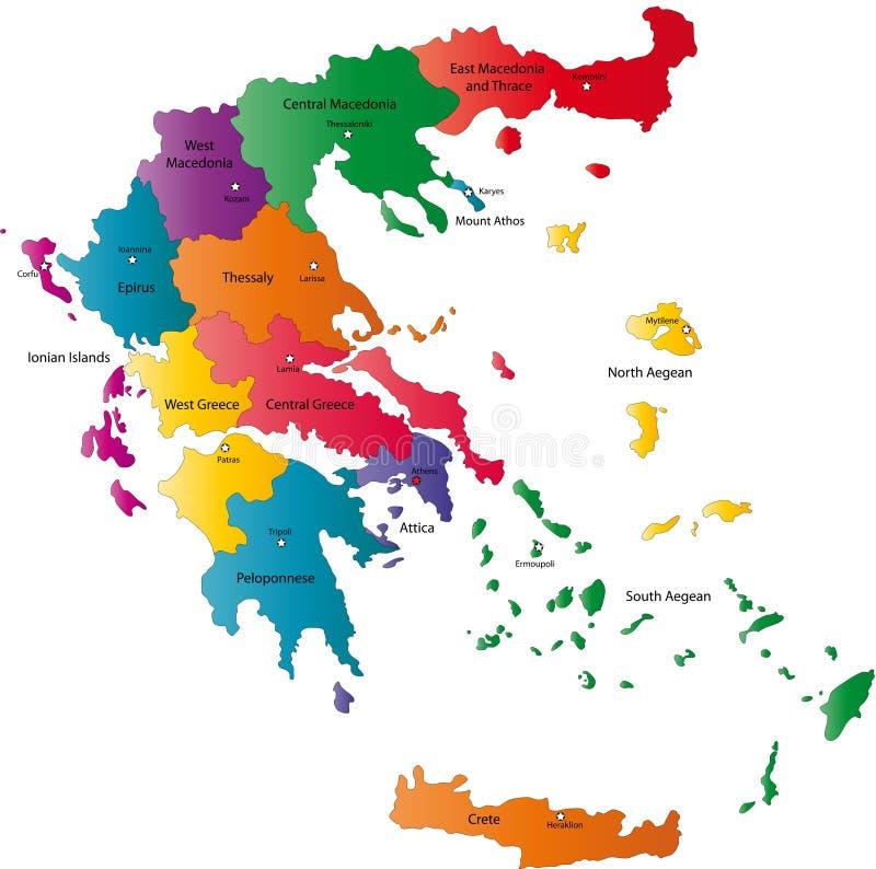 Карта Греции вектора бесплатная иллюстрация