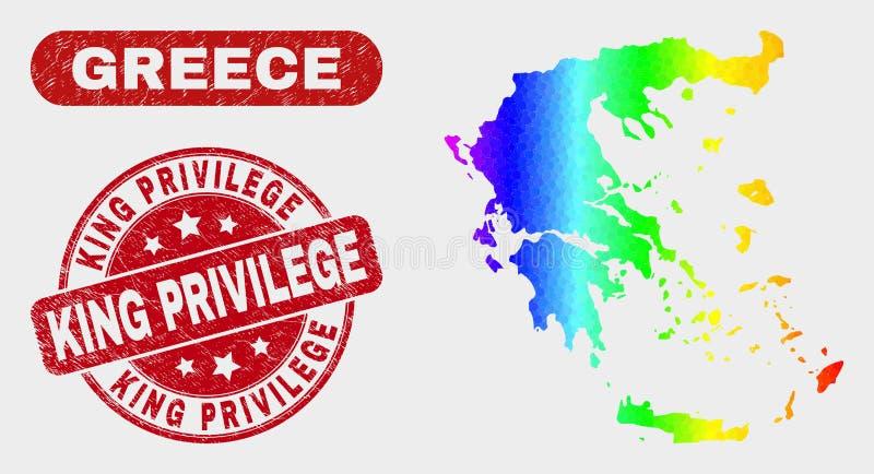 Карта Греции мозаики спектра и король Привилегия Водяной знак Grunge бесплатная иллюстрация