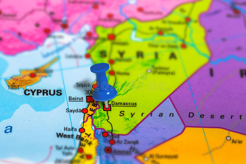 Карта Дамаска Сирии стоковое фото