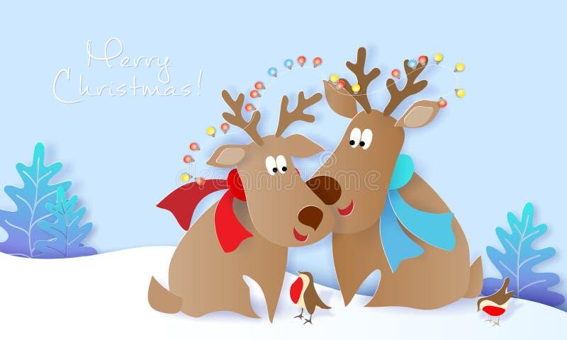 Карта дизайна веселого рождества с оленями и птицами бесплатная иллюстрация