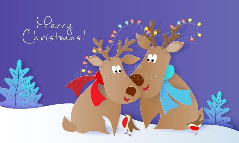 Карта дизайна веселого рождества с оленями и птицами иллюстрация штока