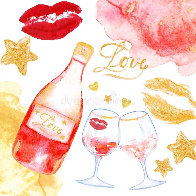 Карта дня Валентайн с розовым вином и бокалами Праздничная романтичная предпосылка иллюстрация вектора