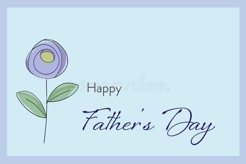 Карта дня отцов с иллюстрацией цветка стоковое фото rf