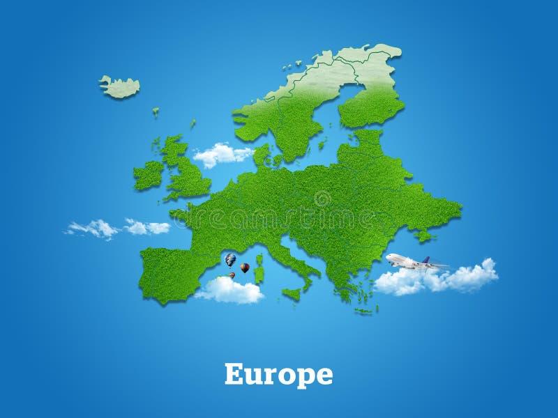 Карта Европы Зеленая трава, небо и пасмурная концепция стоковые изображения rf