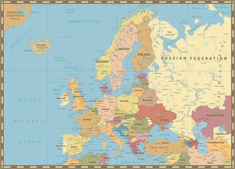 Карта Европы политическая Винтажные цветы бесплатная иллюстрация