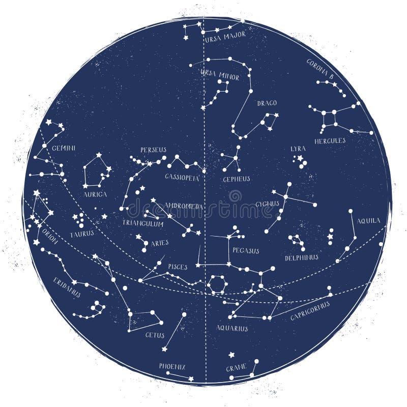 Карта звезды созвездия иллюстрация штока