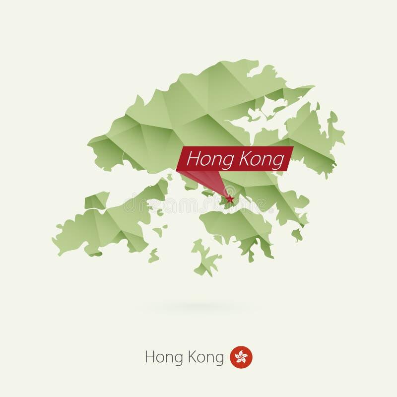Карта зеленого градиента низкая поли Гонконга со столицей Гонконгом иллюстрация вектора