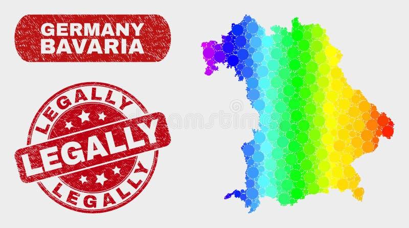 Карта земли Баварии мозаики спектра и Grunge водяной знак законно иллюстрация штока