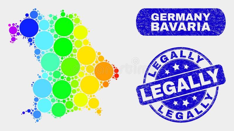 Карта земли Баварии мозаики спектра и Grunge водяной знак законно иллюстрация вектора