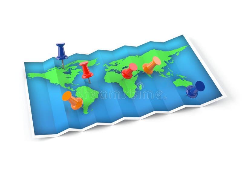 Карта земли с канцелярскими кнопками иллюстрация вектора