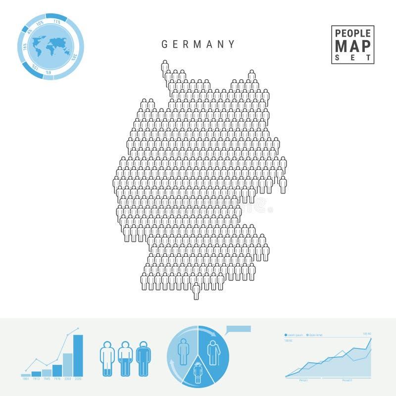Карта значка людей Германии Стилизованный силуэт вектора Германии Демографический рост и вызревание Infographics иллюстрация штока