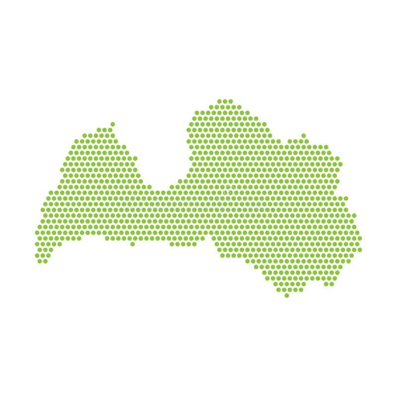 Карта изолированная вектором упрощенная Латвии Зеленый силуэт от пунктов бесплатная иллюстрация