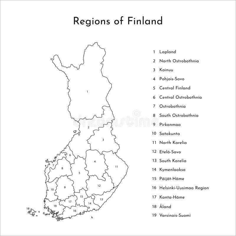 Карта изолированная вектором упрощенная областей Финляндии Границы и имена административных округов бесплатная иллюстрация