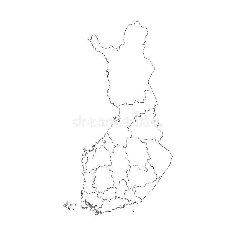 Карта изолированная вектором упрощенная областей Финляндии Границы административных округов Черный план иллюстрация штока