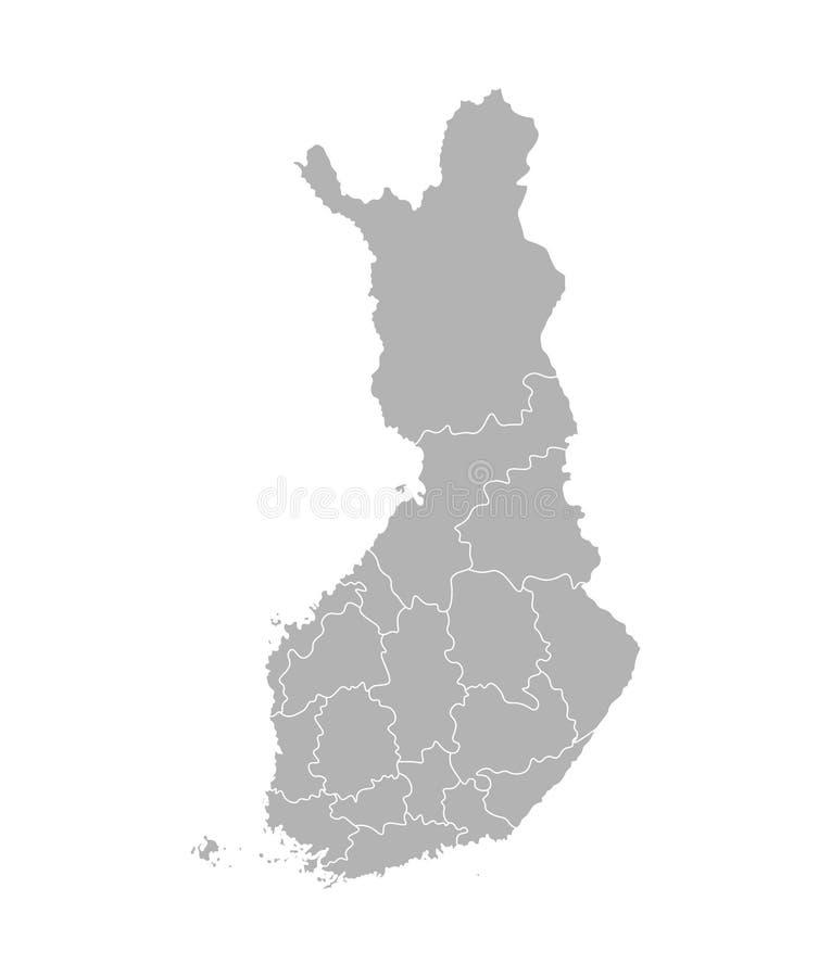 Карта изолированная вектором упрощенная областей Финляндии Границы административных округов бесплатная иллюстрация