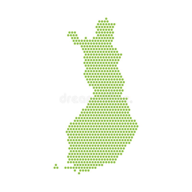 Карта изолированная вектором упрощенная Финляндии Зеленый силуэт от пунктов иллюстрация вектора