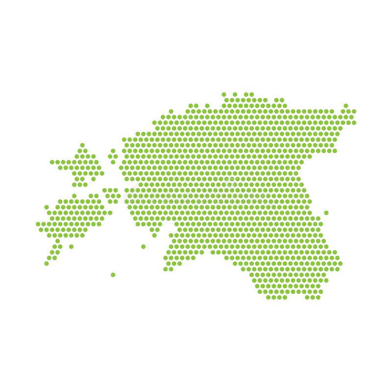 Карта изолированная вектором упрощенная Эстонии Зеленый силуэт от пунктов иллюстрация штока